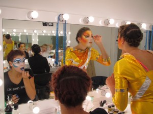 makeup party before a show