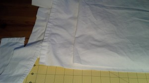 White 3 inch wide ruff made from recycled bed sheets.